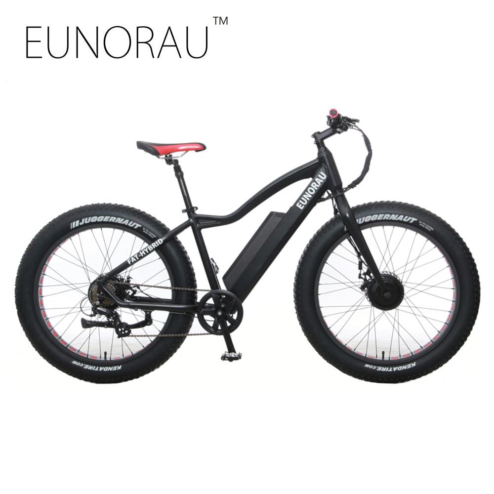"""Падение США Канада доставка EUNORAU АВД 48V250W+350ВТ передний и задний мотор электрический велосипед жира шин снег велосипед с 26""""х4.0 шина"""