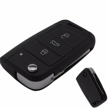 jingyuqin 3 Buttons Modified Folding Flip Remote Car Key Cover Case Fob For VW Golf 7 GTI MK7 Skoda Octavia A7 Seat With logo