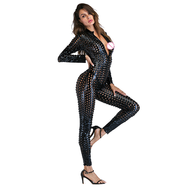 Gothic Punk Rock Scaly One Piece Jumpsuit Women Metallic Hollow Out Catsuits Sexy Wet Look Vinyl Leather Bodysuit Black Gold (1)