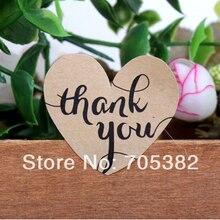 100 шт./лот коричневая крафт-бумага в форме сердца спасибо письмо упаковка маркировочная клейкая этикетка(dd-6845