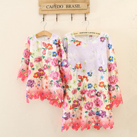 2016 New Summer Mom And Daughter Dress Matching Family Cloth Girls And Mom Floral Dress
