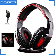 [NEW PROMOTION] Original SADES SA-902 Snake 7.1 Wired USB Luminous PC Gaming Headset Over-Ear Headphones With Mic For Computer