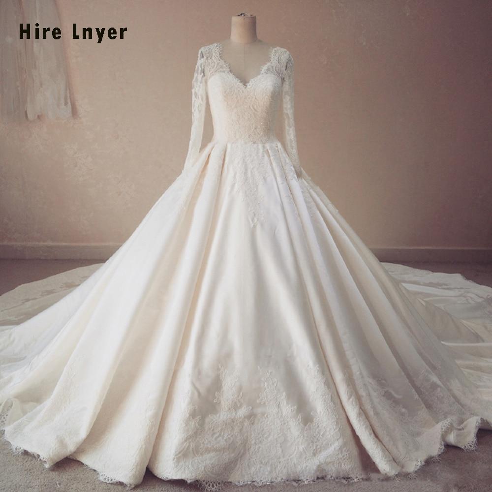 HIRE LNYER Long Sleeve Gelinlik Beading Sequins Matrimonio