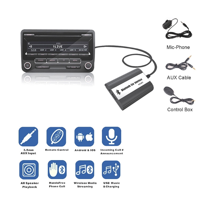 NEW 1 Set Handsfree Car Bluetooth Kits MP3 Wireless Music Receiver AUX Adapter Interface Digital Box For VW Audi Skoda 12 PIN