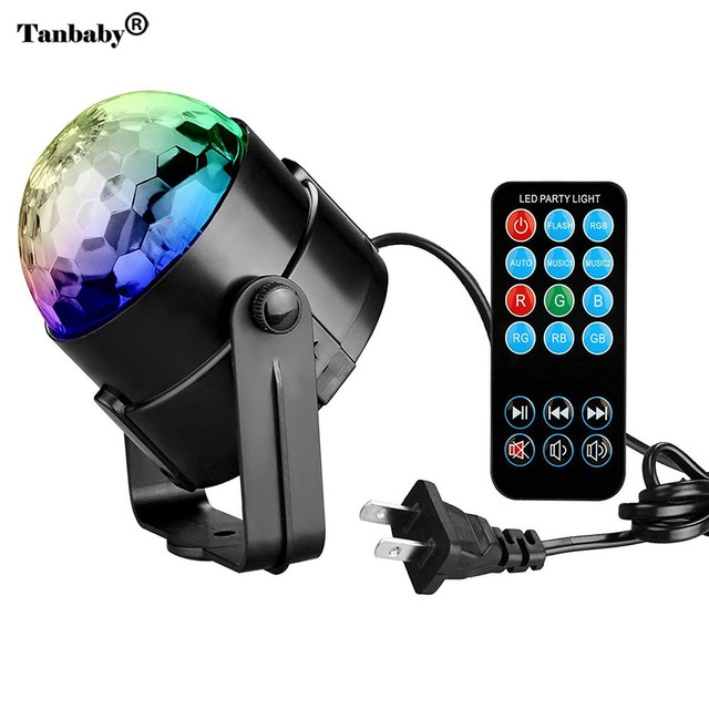 Big Promo RGB Party Lights Disco Ball 3W Led Strobe Stage Light with Remote Controller for DJ Bar Karaoke Kids Holiday Christmas Projector
