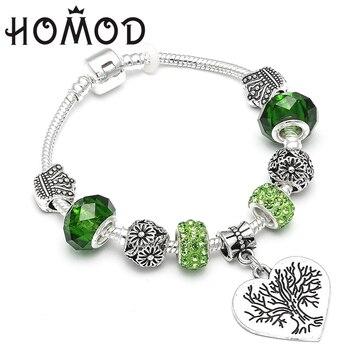 HOMOD Vintage Green Crystal Silver-Plated Tree of Life Pandora Charm Bracelets Snake Chain Jewelry For Women Pulseras Ювелирное изделие
