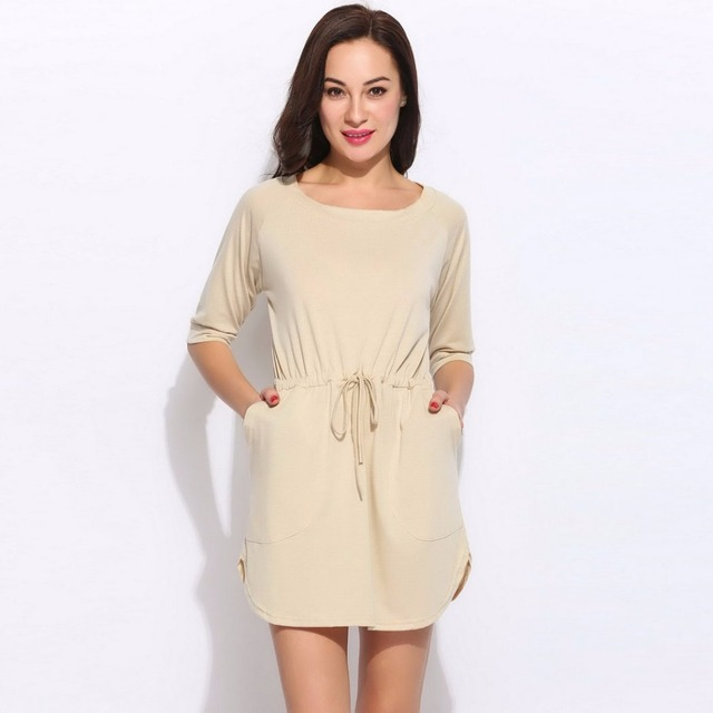69bbc25a92c8 Summer 2017 New Sexy Beach Casual Dress Women 3 4 Sleeve Front Pocket Short  Cute Sundress Female Beachwear Tunic Holiday Clothes