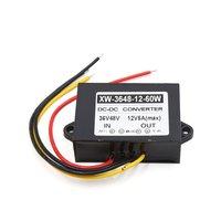 uxcell DC 36V/48V Step Down to DC 12V 60W 5A Converter Car LED Screen Power Supply Adaptor
