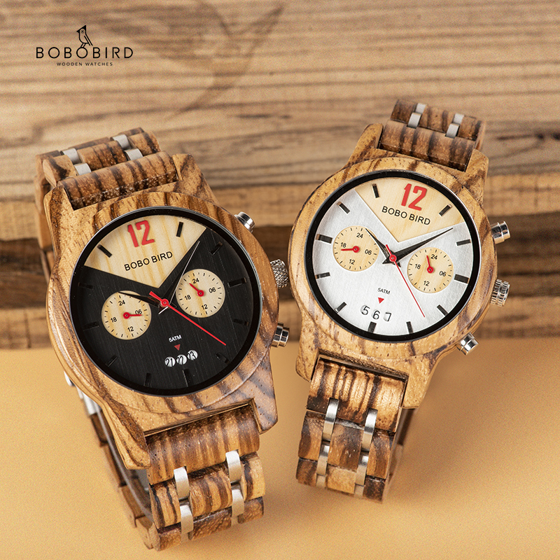 BOBO BIRD Lover's Watch Wood Quartz Wristwatch Ladies Timepiece relogio masculino Auto Date With Gift Box L-S15