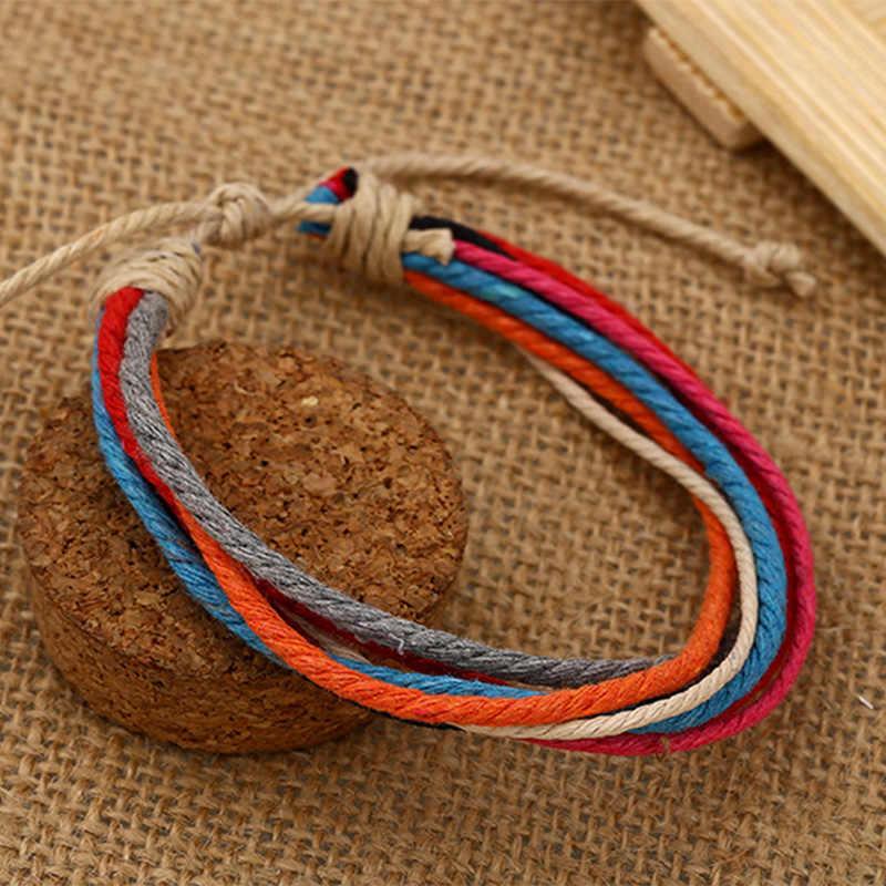 856a5a661e3f6 Colorful Multilayer Handmade Rope Woven Bracelets Hippy Boho Cotton  Friendship Bracelets S4164