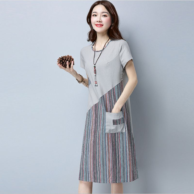 2018 Women Summer Linen cotton Floral Striped Vintage Retro Style Female O-Neck Short sleeve Pocket Casual Loose Dresses CM009 4