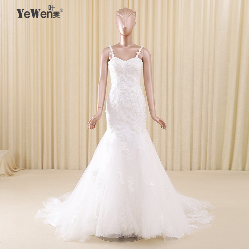 Spaghetti Straps Wedding Dress 2016 Yewen Lace Pearls