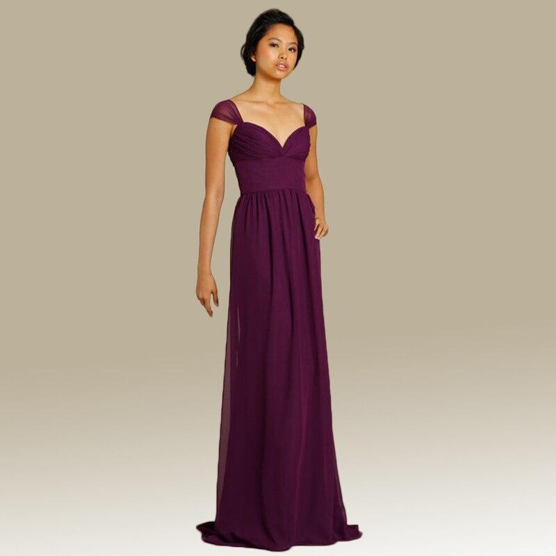Custom made scalloped neck cap sleeves marsala chiffon for Wedding party dresses cheap
