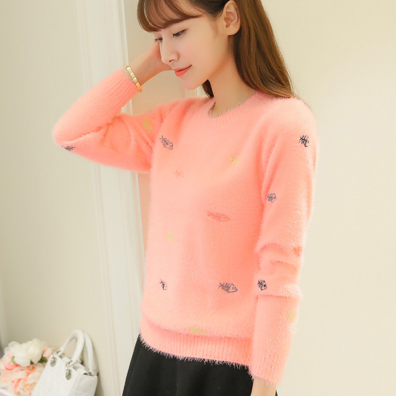the autumn and winter, Ma Haimao embroidery, thickening sweater, womens sleeve, long sleeved knitted jacket, student