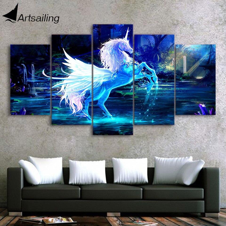 Настенная живопись на холсте 3D единорог лошадь картина украшение дома Современная 5 Панель Холст Картина Печать постер для декора стен F013