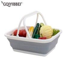 Portable Foldable Plastic Storage Basket For Fruit Cosmetics Organizer Kitchen Bathroom Laundry Handheld Shopping Basket Holders