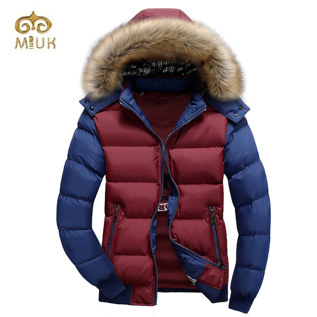 MIUK Hooded Thick Cotton Casual 2XL Big Size Winter Fur Down Coat Jacket Brand Clothing Men Warm Clothes