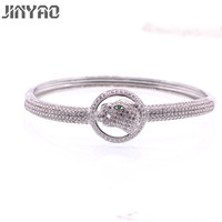 JINYAO Fashion Tiger White Gold Color Crystal AAA Zircon Bracelet Bangle For Women High Quality Gorgeous Jewelry Pulseira