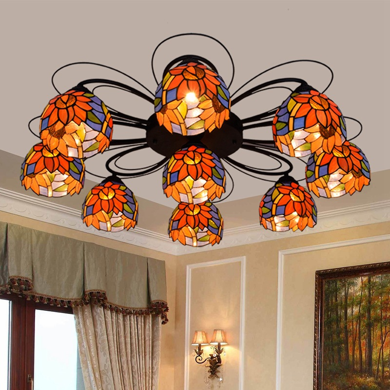 stained glass sitting room dining-room bedroom long dome light blue American rural countryside Sunflower 379 ceiling 100-240Vstained glass sitting room dining-room bedroom long dome light blue American rural countryside Sunflower 379 ceiling 100-240V