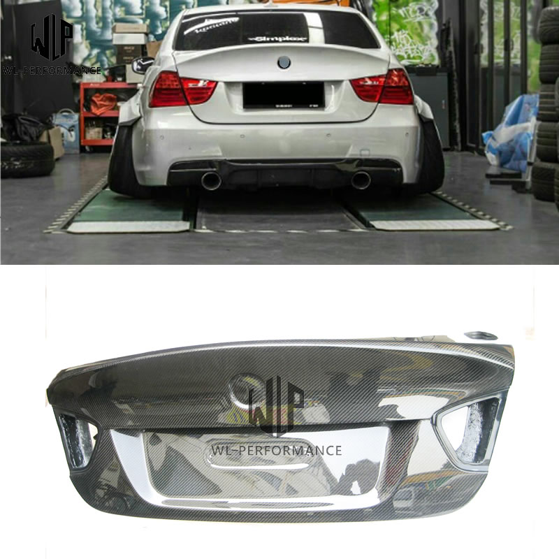 For 3 Series E90 320i 325i CSL Style Carbon Fiber Rear Trunk Lid Hood Bonnets Car Body Kit 2005-2011
