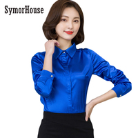 Women Silk Satin Blouse Button Long Sleeve Candy Colors Lapel Ladies Office Work Shirts Elegant Female