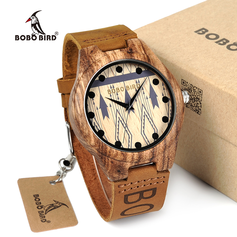 BOBO BIRD Zebra Wood Watches Men Genuine Leather Band Wooden Wristwatches Japan Move' Quartz Watch Gifts Male Relogio C-O30