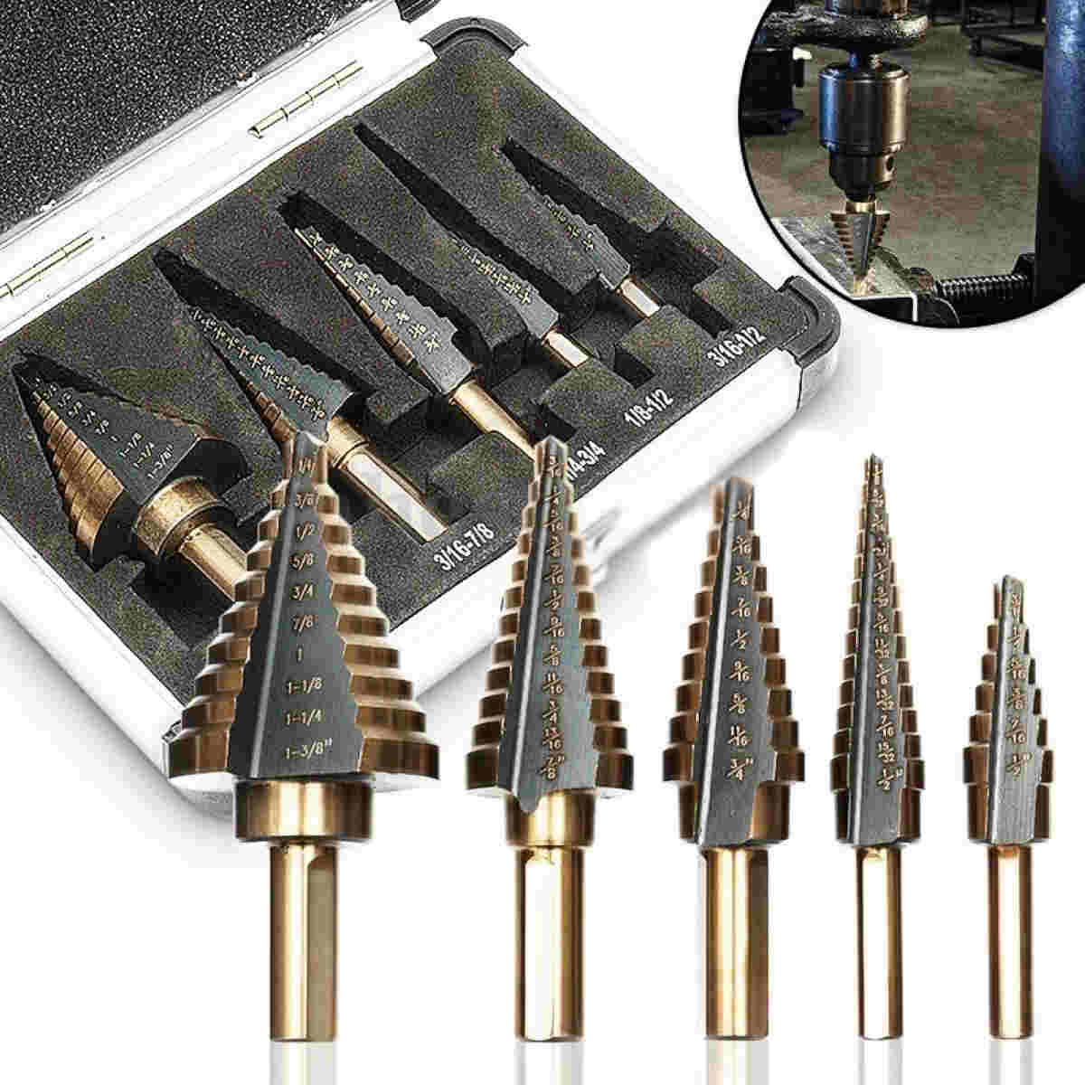 DWZ 5pcs HSS Large Cobalt Hole Titanium Cone Step Drill Bit Cutter Set Tools w/ Case 2017 5pcs industrial countersink drill bit set mayitr hss large cobalt hole titanium cone step drill bit cutter kit tools