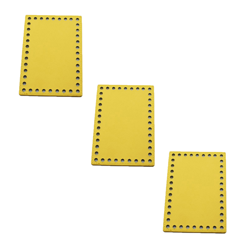 3pcs 16x11cm Bottoms for Knitting Bag Patent Leather Accessories Rectangle Bottom with Holes DIY Handmade Bags