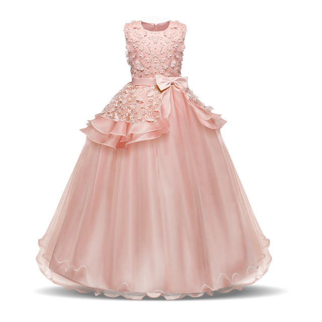 7dbbae8765 Fancy Long Gowns Kids Girl First Communion White Dress Princess Party  Pageant Formal Dress Prom Girls