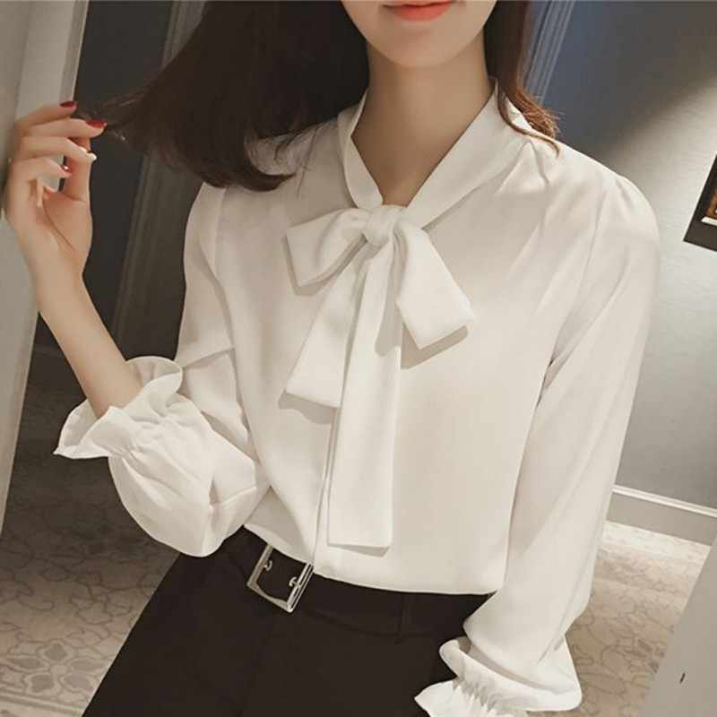 32548291163e5e ETOSELL Women Blouse Long Sleeve V Neck Bow Tie Loose Chiffon Solid Blouses  Office Work Lady