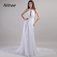 White Chiffon Prom Dresses Long Sleeveless Halter Neck Sexy Evening Prom Gowns Keyhole Neck abd Back Chapel Train Formal Party
