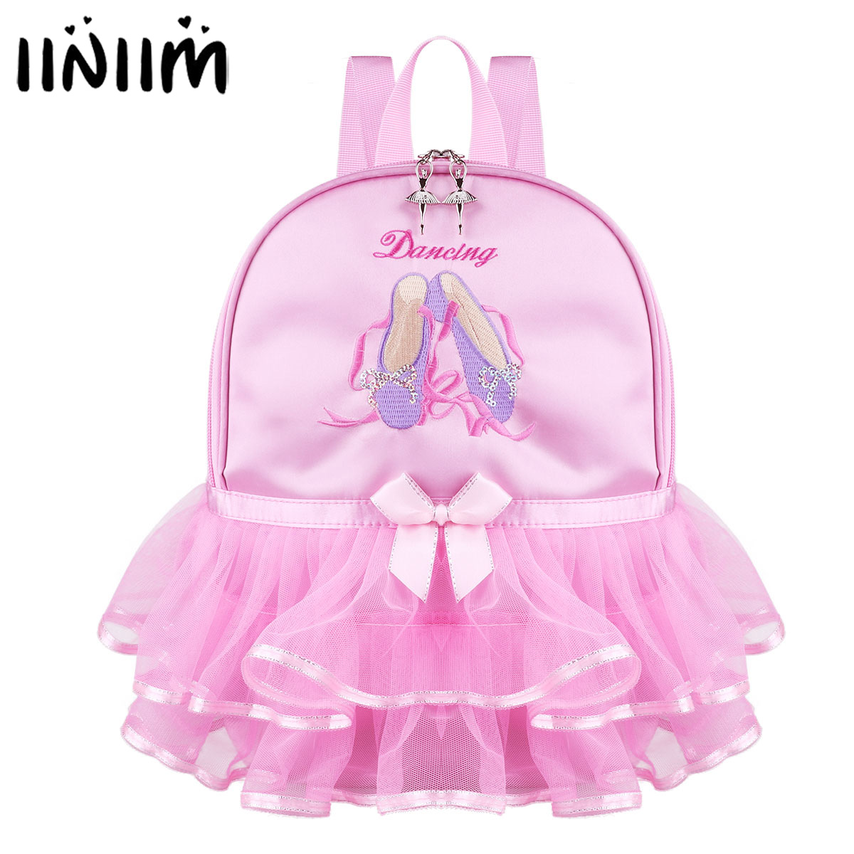 Kids Girls Ballet Dance Bag Students School Backpack Toe Shoes Embroidered Tiered Ruffled Tutu Shoulder Bag Costume Dancewear