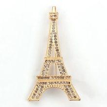 Brazaletes para damas marca WEIMANJINGDIAN, venta directa de fábrica, diamantes de imitación de cristal, broche de Torre Eiffel, Pin, joyería decorativa de moda para vestido