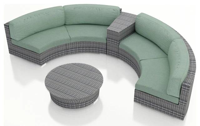 luxury design outdoor wicker patio 4 piece half round sofa set