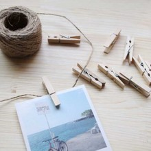 50Pcs Wood Clothes Pegs Natural Wooden Photo Paper Peg Color Clips Decorative Craft Office Stationery