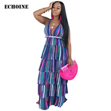 цены на Layered Dress Striped Print Maxi Dress Spaghetti Strap Sexy V-neck Dress Bohe Beach Long Robe dress women Elegant party Vesdios  в интернет-магазинах