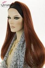 """StrongBeauty 22 """"długie proste miedzi czerwony syntetyczny z pałąkiem na głowę peruka peruki"""