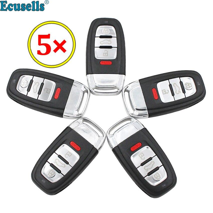 5 pcs/lot 4 boutons Smart télécommande clé coque Fob 3 + 1 bouton pour Audi A3 A4 A5 A6 Q5 Q8 S4 blanc non coupé HAA HU66 lame