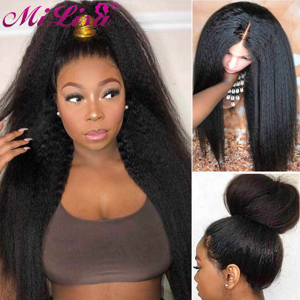 Malaysian Kinky Straight Wig Glueless Lace Front Human Hair Wigs for Black Women Coarse Yaki Straight Wig Remy Hair Mi Lisa Hair