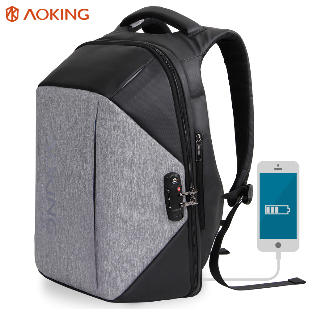 Aoking Multifunctional Anti thief Backpack Unisex Men's Travel TSA Lock Backpack Fashion College Schoolbags Luggage Backpack heart thief