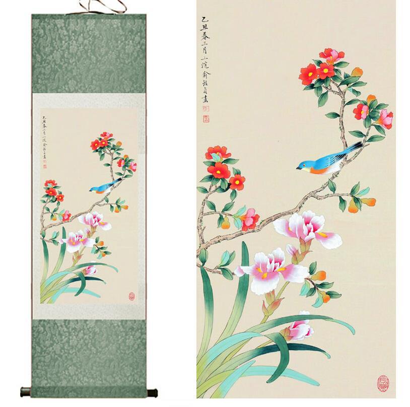 Seda tradicional pintura del arte del pájaro en el árbol Pintura - Decoración del hogar