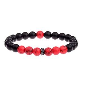 Image 4 - DOUVEI 8MM Black Matt&Red Beads Yinyang Bracelets For Women Trendy Bracelet Men With Black CZ Beads Prayer Jewelry AB656