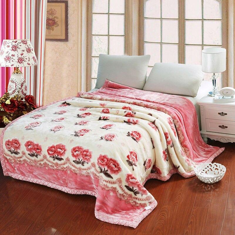 Papa&Mima elegant peonies winter throw blankets raschel fiber plaids 180x220cm/200x230cm bedsheet multifunctional bedspread