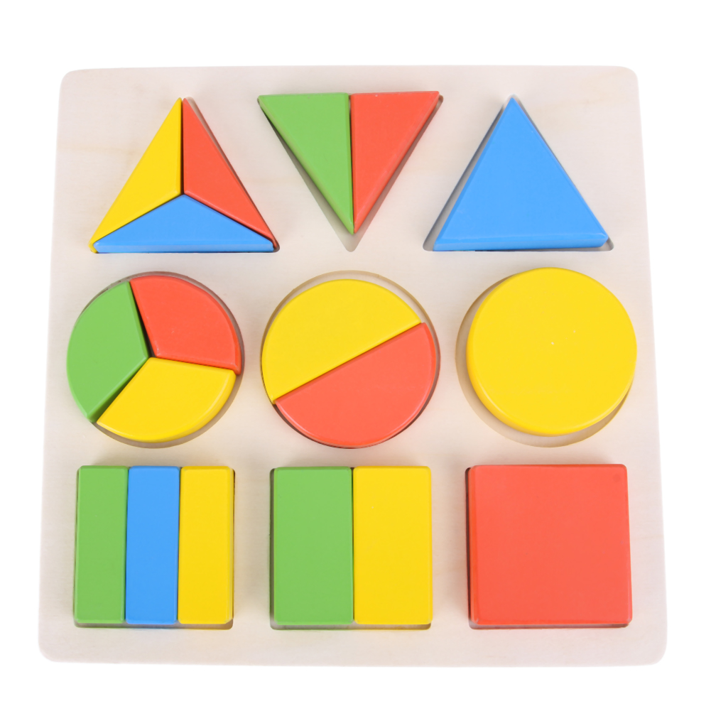 Montessori Wooden 3D Geometric Puzzle Toy Kids Children Educational Toy Colorful School Teaching Building Puzzles Toys Xmas Gift
