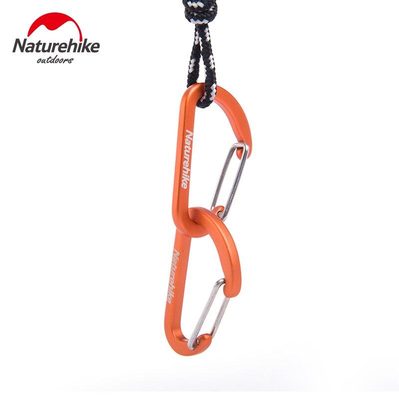 8pcs/lot Naturehike D Shape Camping Carabiner 4cm Aluminum Hook Clip Holder Buckles Survival Kits Fast Hang Mini Buckle Hook