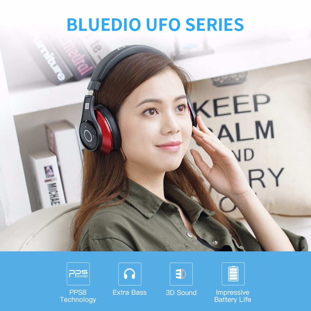 Bluedio U(UFO)Bluetooth headphone High-End Genuine Patented 8 Drivers 3D  Sound Aluminum alloy Over-Ear wireless headset ad67e86cfd418