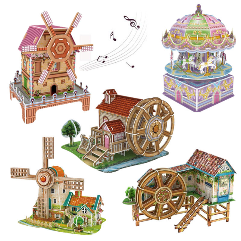 3D Three-dimensional Puzzle Windmill Waterwheel Paper Assembled Building Model Music Box Puzzle Toys for Children's Gift