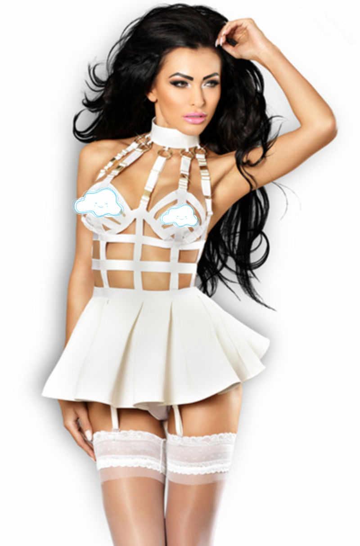 Новейшее черное белое платье из искусственной кожи Связывание мини платье сексуальное открытое PU заклепки Клубная одежда полюс танцевальный костюм латексное платье