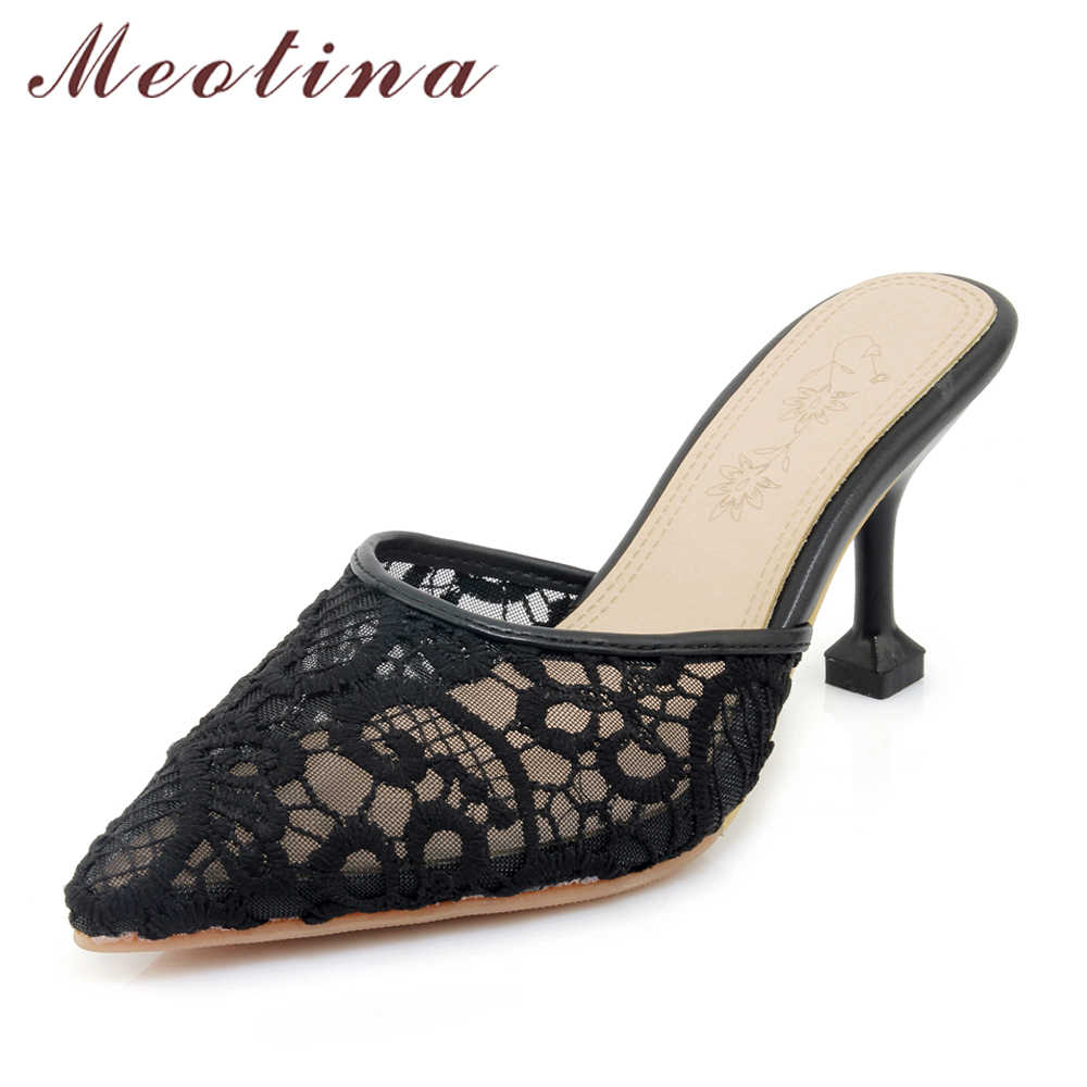 c7b37dce50c Meotina Women Pumps High Heels Mules Shoes Kitten Heels Pointed Toe Lace  Slippers 2018 Spring Shoes