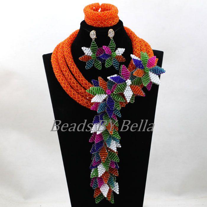 Большой полный Бусины нигерийской свадьбы оранжевый костюм африканских Ювелирные наборы кулон цветы Цепочки и ожерелья для невесты Беспла
